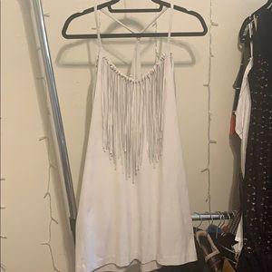 Women's Zara small gray fringe suede Dress